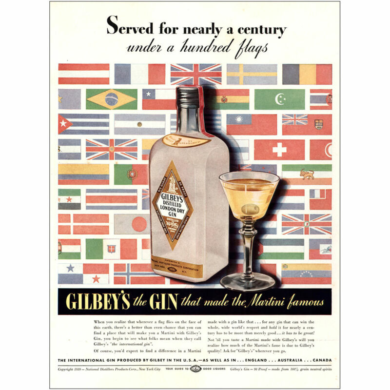 1939 Gilbeys Gin: Nearly a Century Under a Hundred Flags Vintage Print Ad