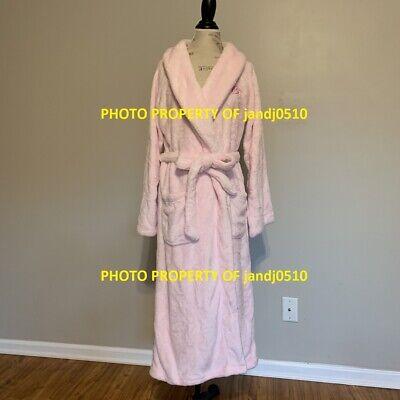 $75 Victorias Secret LIGHT PINK ABOUT IT Long Cozy SOFT Plush Wrap Robe M/L XS/S