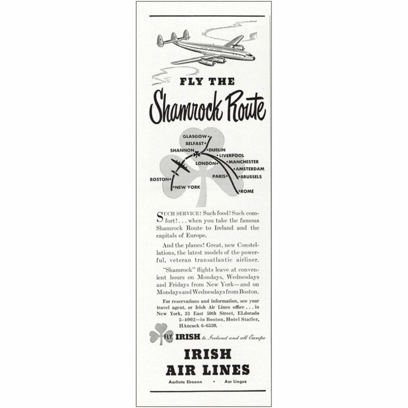 1948 Irish Air Lines: Fly the Shamrock Route Vintage Print Ad