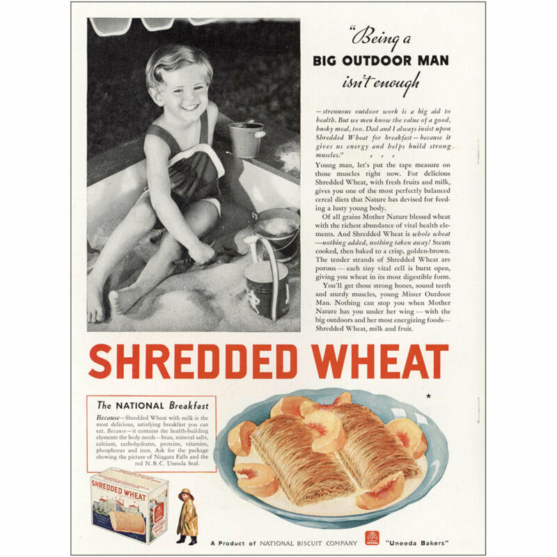 1935 Shredded Wheat: Big Outdoor Man Vintage Print Ad