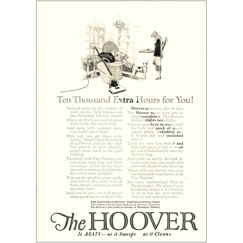 1923 Hoover Vacuum: Ten Thousand Extra Hours Vintage Print Ad