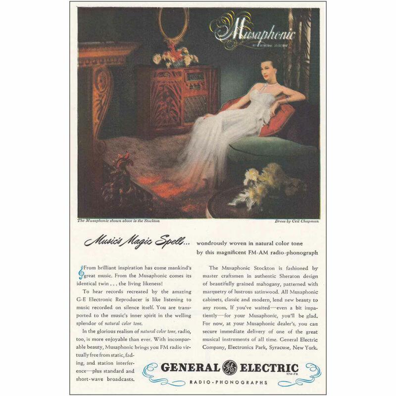 1947 General Electric Musaphonic: Stockton Vintage Print Ad
