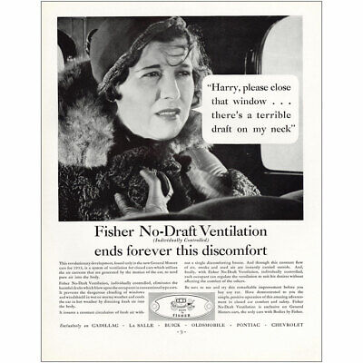 1933 Body by Fisher: No Draft Ventilation Ends Discomfort Vintage Print Ad