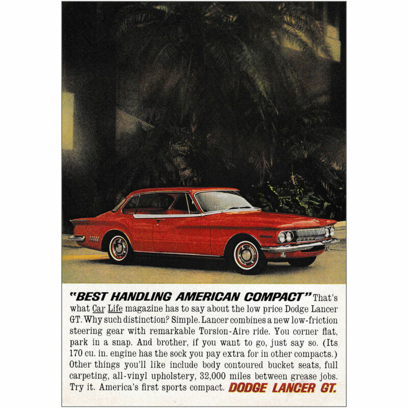 1962 Dodge Lancer GT: Americas First Sports Compact Vintage Print Ad