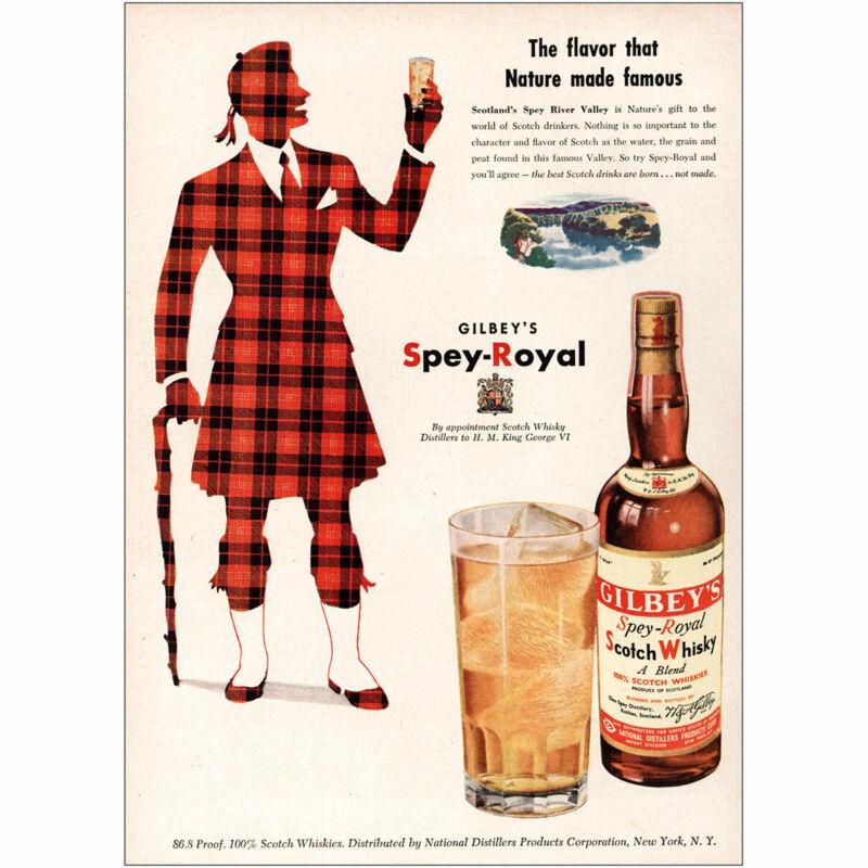 1951 Gilbeys Scotch Whisky: Spey Royal Vintage Print Ad