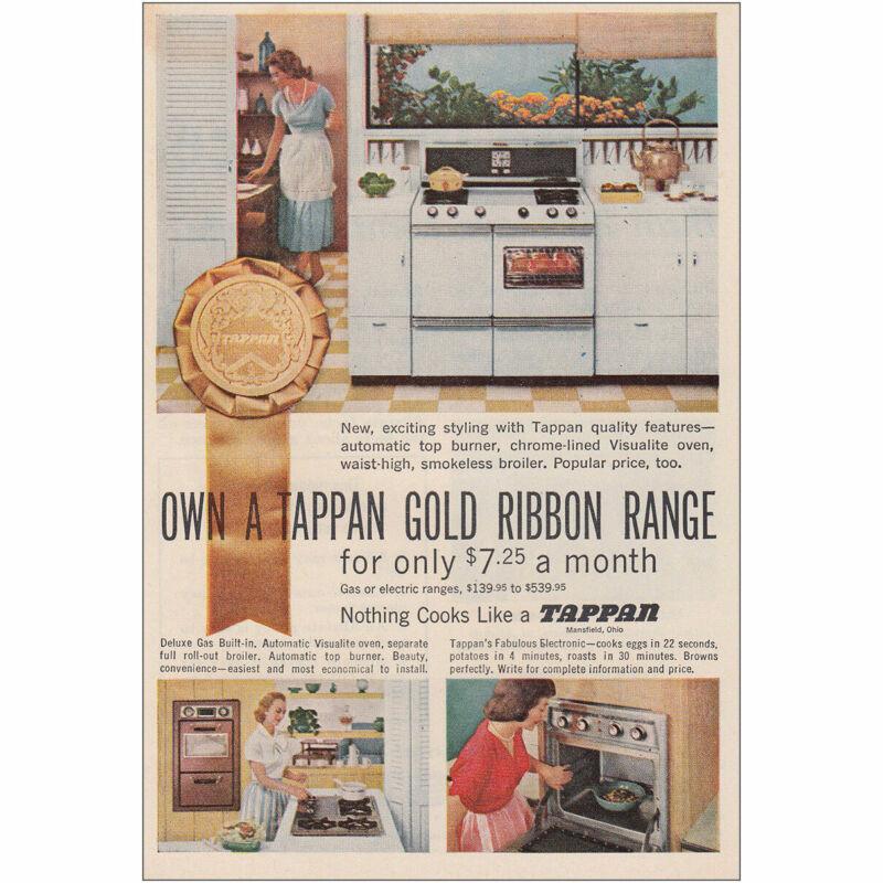 1957 Tappan: Own a Tappan Gold Ribbon Range Vintage Print Ad