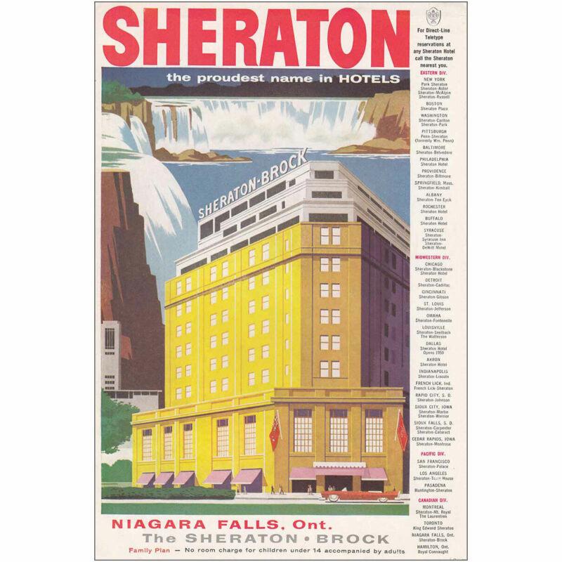 1957 Sheraton Brock: Niagara Falls Vintage Print Ad