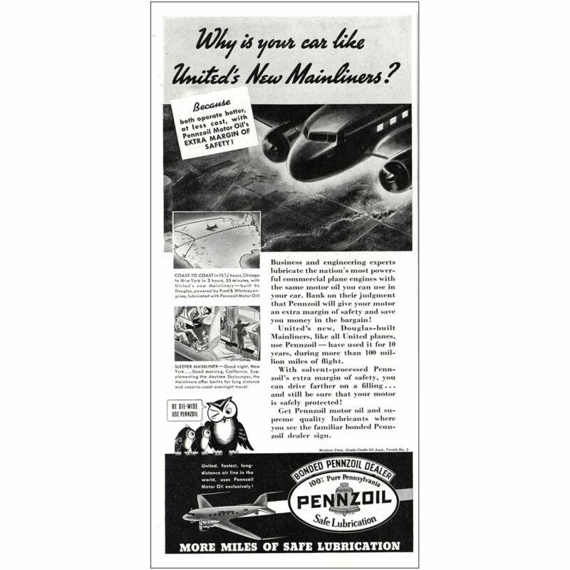 1937 Pennzoil: Car Like Uniteds New Mainliners Vintage Print Ad
