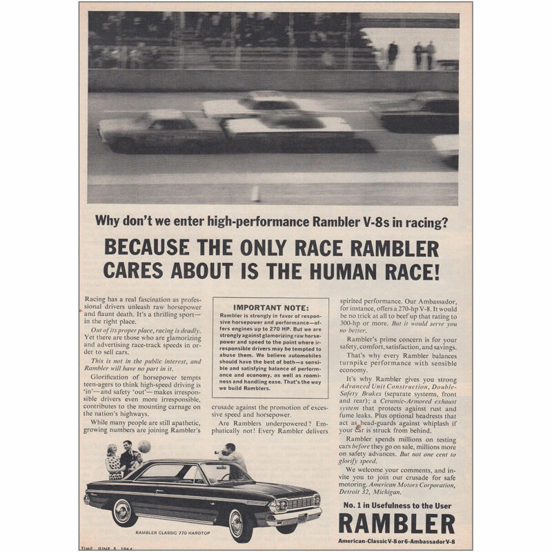 1964 Rambler: Only Race Rambler Cares About Is the Human Race Vintage Print Ad
