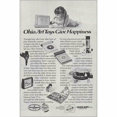 1972 Ohio Art Toys: Etch a Sketch Bizzy Buzz, Screwee Vintage Print Ad