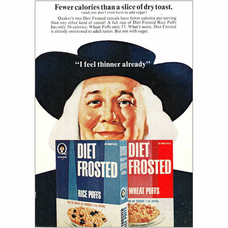 1968 Quaker Diet Frosted Cereals: I Feel Thinner Already Vintage Print Ad