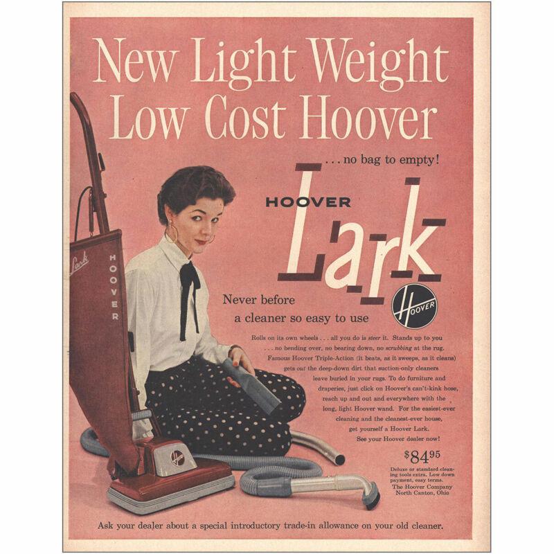 1953 Hoover Lark Vacuum: New Light Weight Vintage Print Ad