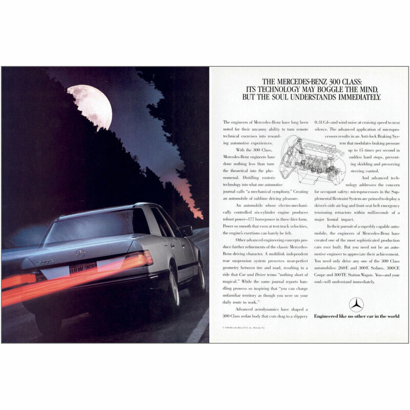 1988 Mercedes Benz 300 Class: Technology May Boggle the Mind Vintage Print Ad