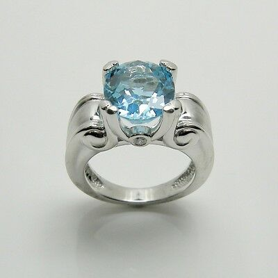 GENUINE BLUE TOPAZ FASHION RING WITH DIAMONDS IN 14K WHITE GOLD RETAIL $1999