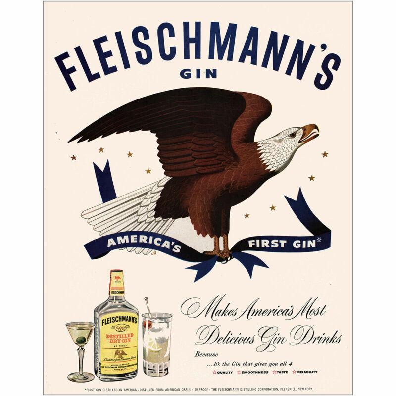 1950 Fleischmanns Gin: Americas First Gin Vintage Print Ad