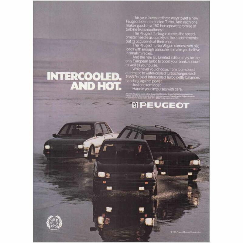 1986 Peugeot: Intercooled and Hot Vintage Print Ad