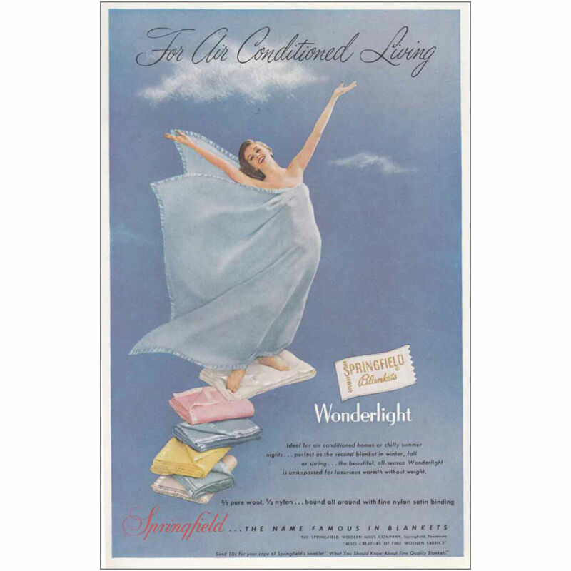 1955 Springfield Blankets: Air Conditioned Living Vintage Print Ad