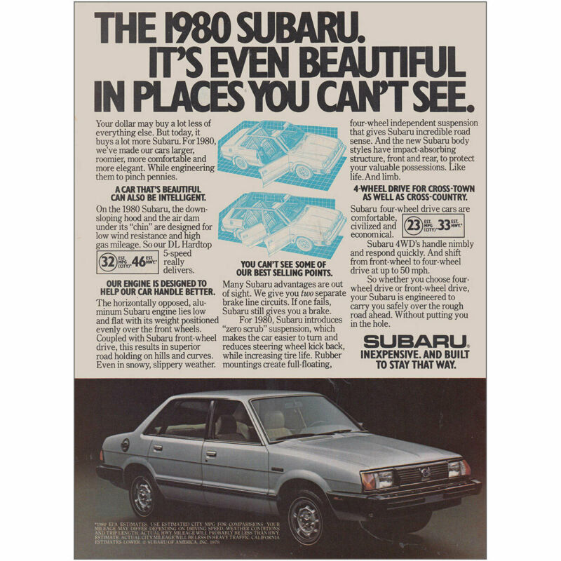1980 Subaru:  Even Beautiful In Places You Cant See Vintage Print Ad