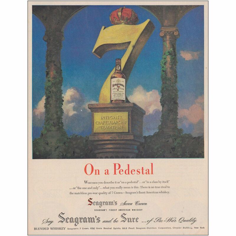 1947 Seagrams: On a Pedestal Vintage Print Ad
