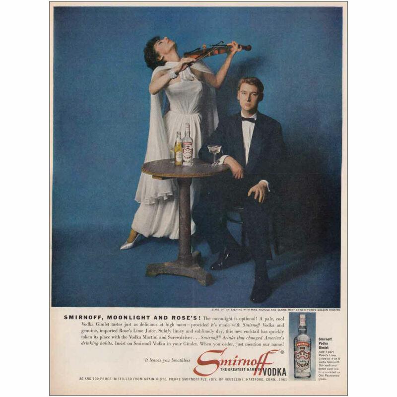 1961 Smirnoff Vodka: Moonlight and Roses Vintage Print Ad