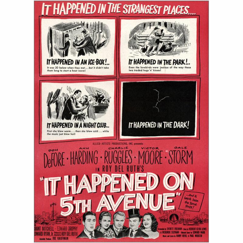 1947 It Happened On 5th Avenue Promo: Don DeFore Vintage Print Ad