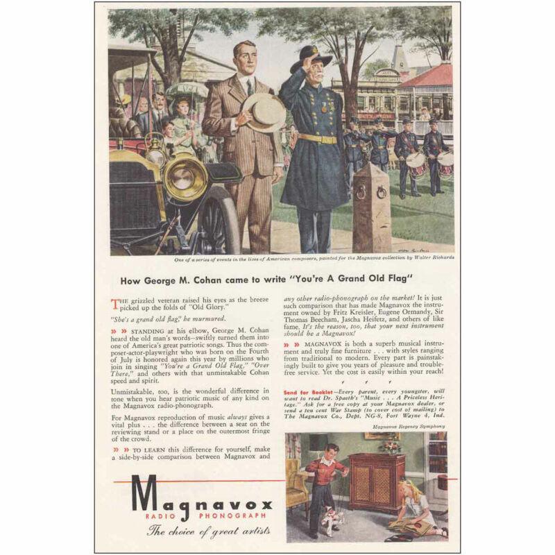 1945 Magnavox: George M Cohan Grand Old Flag Vintage Print Ad