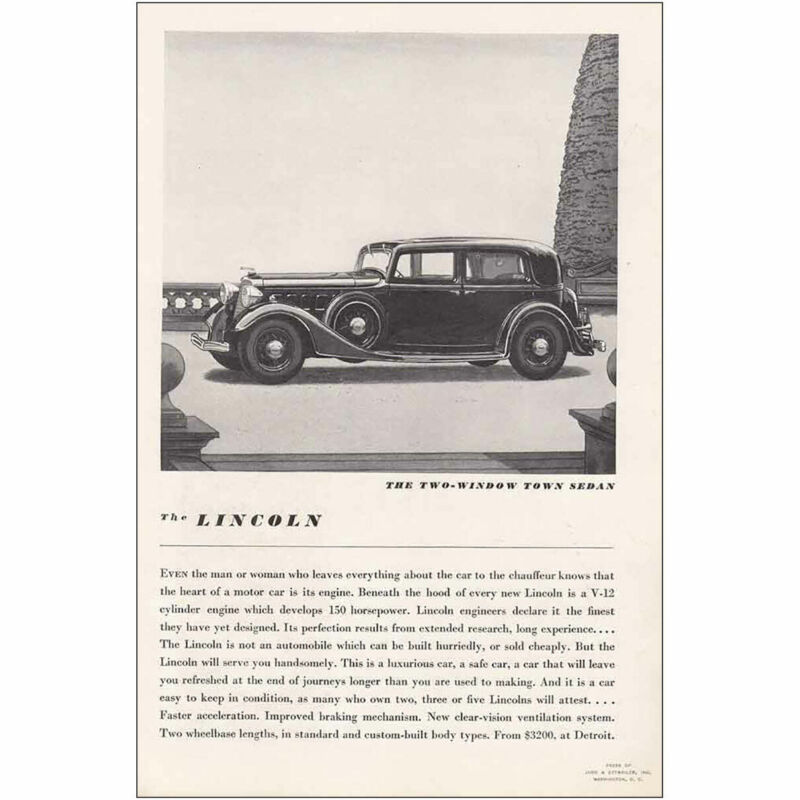 1934 Lincoln Two Window Town Sedan: Start Out Early Vintage Print Ad