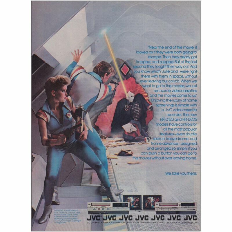 1983 JVC VCR: Near the End of the Movie Vintage Print Ad