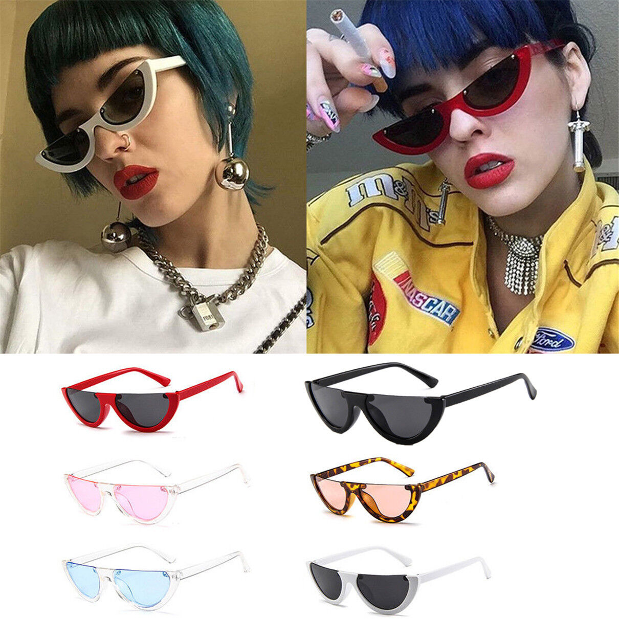 04ea3b1d0c Details about Women Vintage Half Frame Cat Eye Sunglasses Sexy Ladies  Fashion Eyewear Retro EL