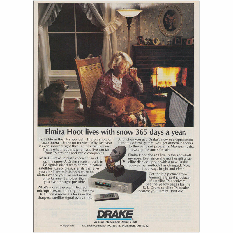 1985 Drake Satellite Receiver: Elmira Hoot Lives With Snow 36 Vintage Print Ad