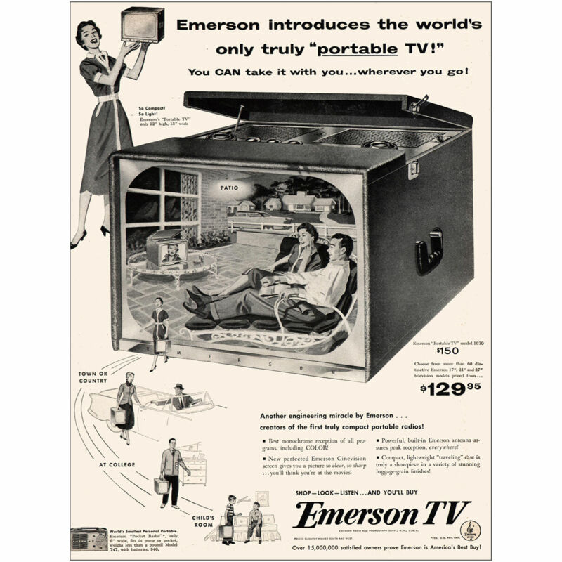 1954 Emerson TV: Only Truly Portable TV Vintage Print Ad