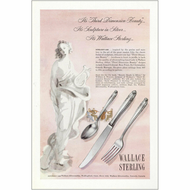 1948 Wallace Sterling: Third Dimension Beauty Vintage Print Ad