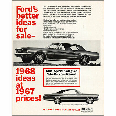 1968 Ford Mustang: Better Ideas for Sale Vintage Print Ad