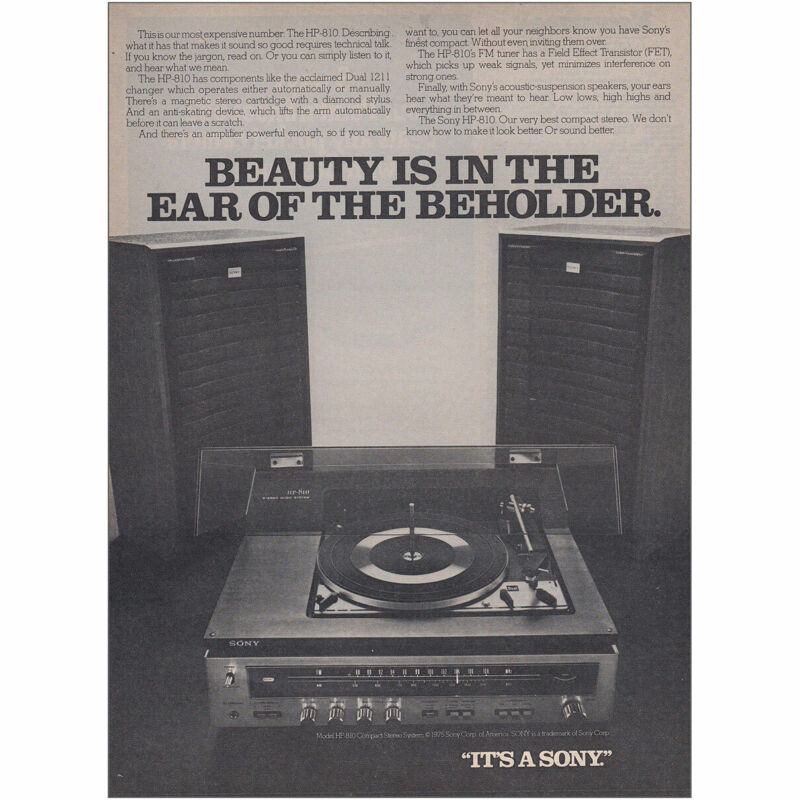 1975 Sony HP810: Beauty Is In the Ear of the Beholder Vintage Print Ad