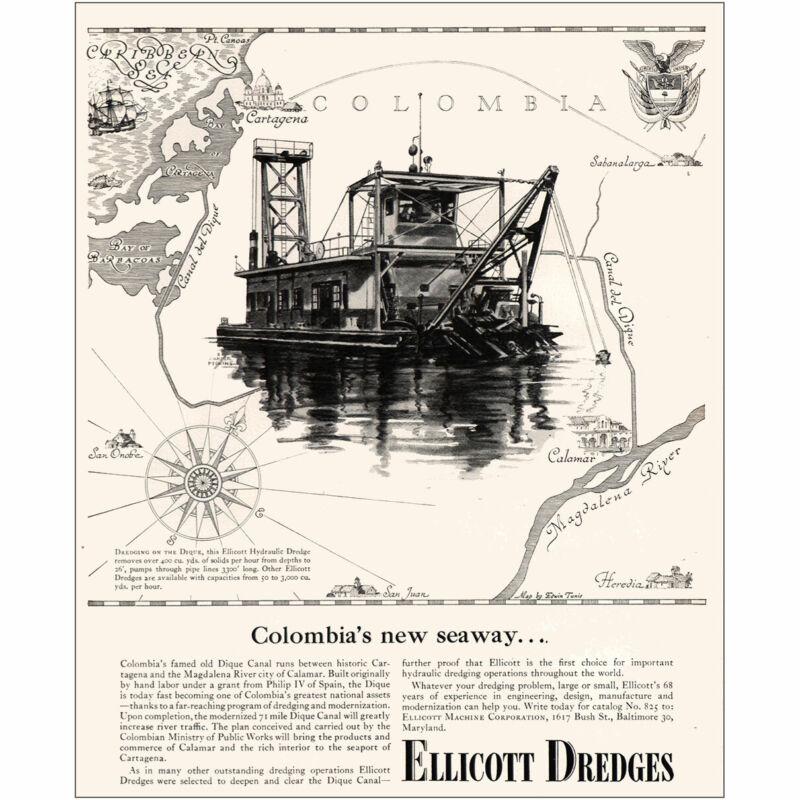 1954 Ellicott Dredges: Colombias New Seaway Vintage Print Ad