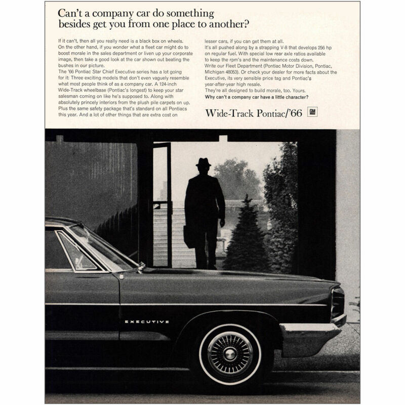 1966 Pontiac: Company Car Do Something Vintage Print Ad