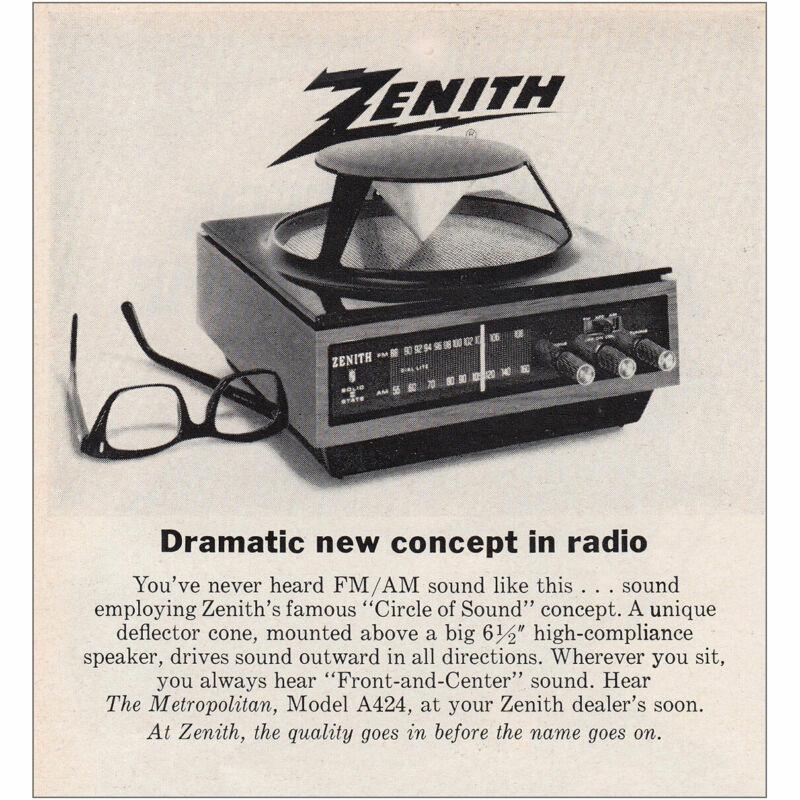 1969 Zenith: Dramatic New Concept In Radio Vintage Print Ad