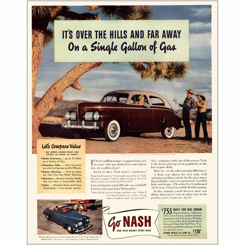 1941 Nash: Its Over the Hills and Far Away Vintage Print Ad