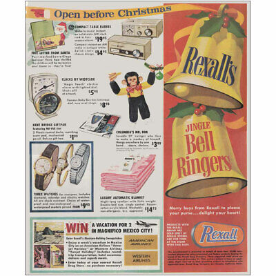 1966 Rexall Drug Company: Christmas Ad Jingle Bell Ringers Vintage Print Ad