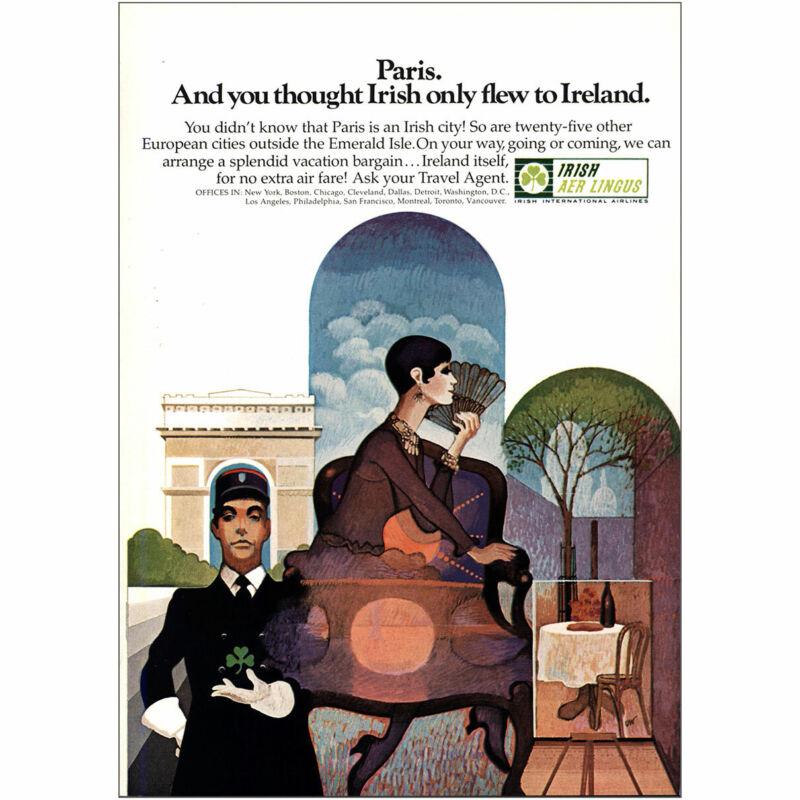 1969 Irish Aer Lingus: Paris You Thought Irish Only Flew Vintage Print Ad
