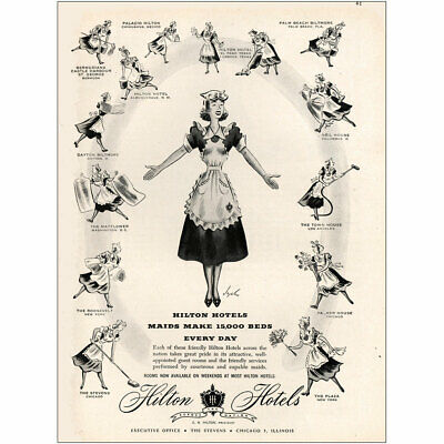 1948 Hilton Hotels: Maids Make 15000 Beds Every Day Vintage Print Ad