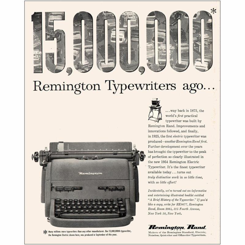 1954 Remington: 15000000 Typewriters Ago Vintage Print Ad