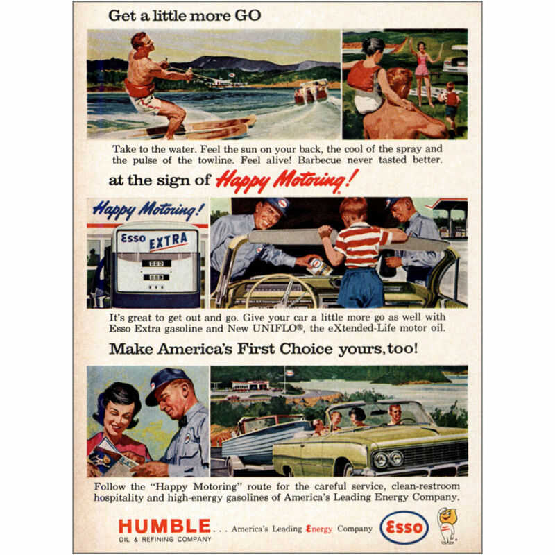 1963 Humble Oil: Happy Motoring Vintage Print Ad
