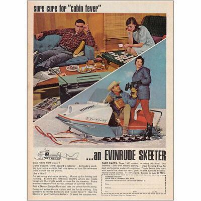 1966 Evinrude Skeeter: Sure Cure for Cabin Fever Vintage Print Ad