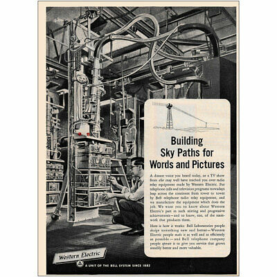 1953 Western Electric: Building Sky Paths for Words Pictures Vintage Print Ad