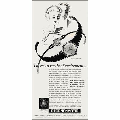1953 Eterna Magic Watch: Rustle of Excitement Vintage Print Ad