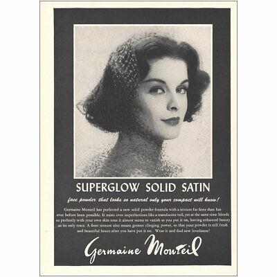 1959 Germaine Monteil: Superglow Solid Satin Vintage Print Ad