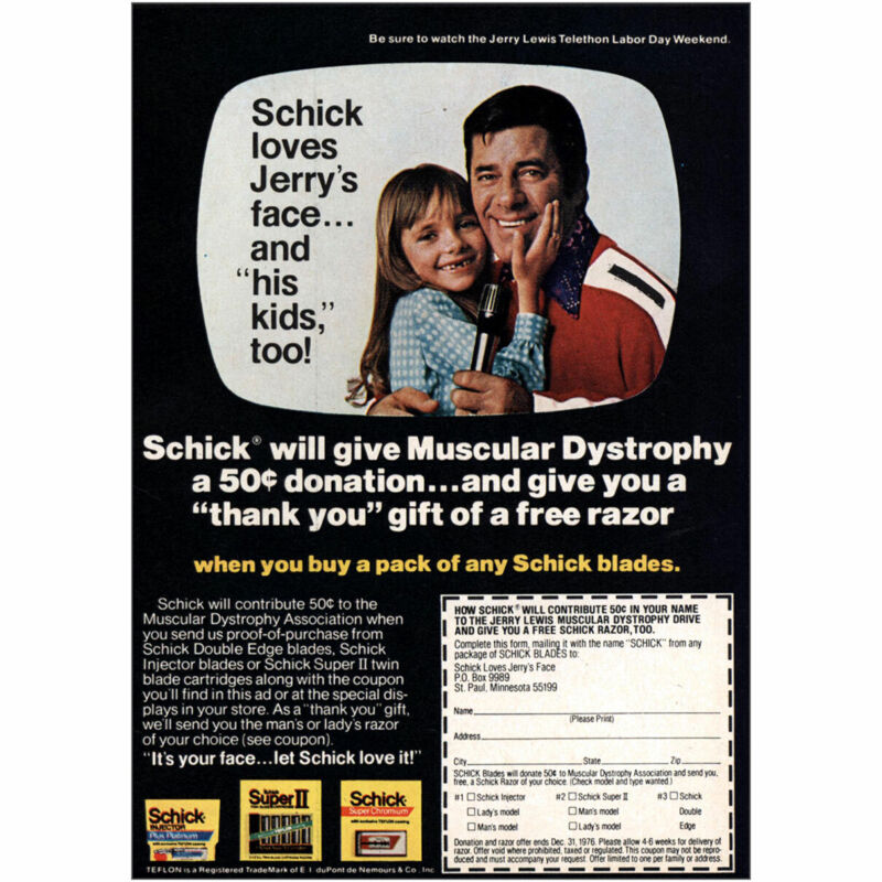 1976 Schick Blades: Jerry Lewis Muscular Dystrophy Vintage Print Ad