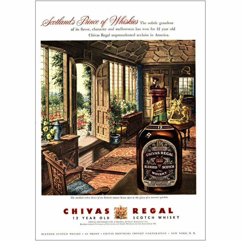 1955 Chivas Regal: Scotlands Prince of Whiskies Vintage Print Ad