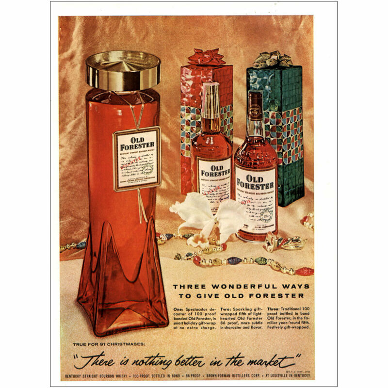 1960 Old Forester: Three Wonderful Ways Vintage Print Ad